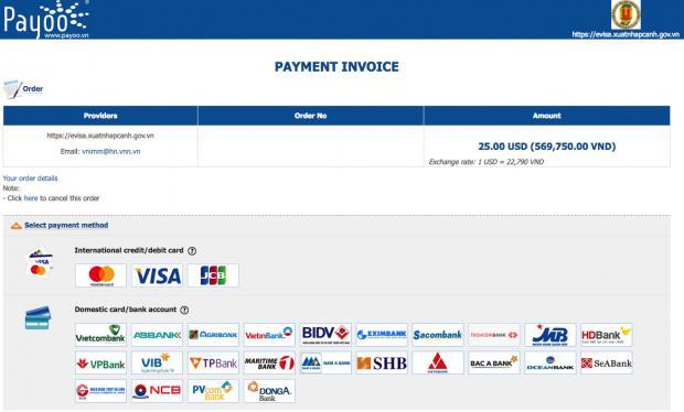 E-Visa Payment confirmation
