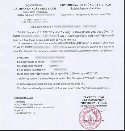 The sample of the Vietnam entry permit